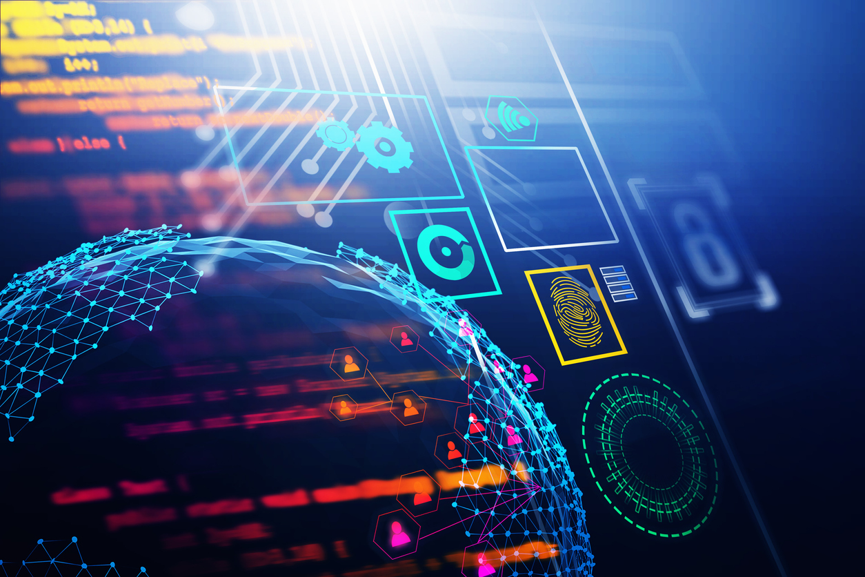 Colorful cybersecurity dashboard